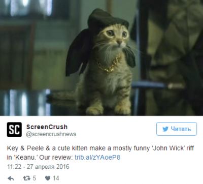 В комедийном боевике «Киану» котенка озвучил Киану Ривз