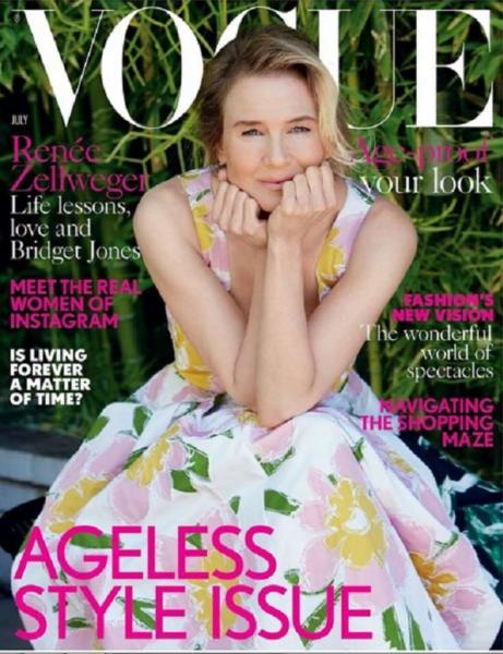 Рене Зеллвегер снялась для обложки журнала Vogue без макияжа