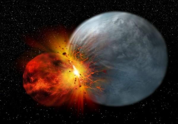 Учёные обнаружили следы от столкновения планеты зародыша на поверхность Луны