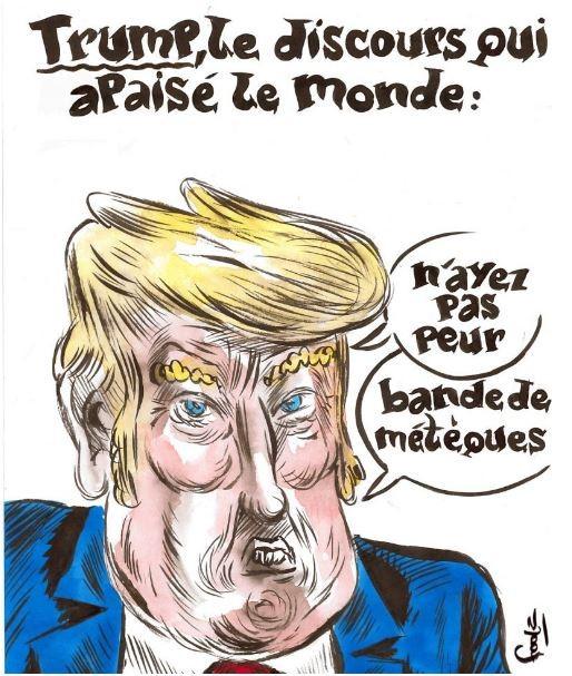 Charlie Hebdo обнародовал новейшую карикатуру наДональда Трампа