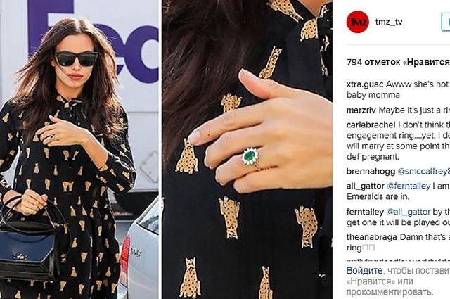 Ирина Шейк показала помолвочное кольцо с изумрудом и бриллиантами