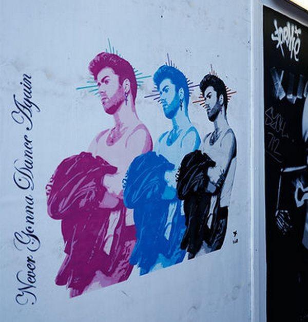 Встолице Англии уличный художник создал посвященный Джорджу Майклу триптих
