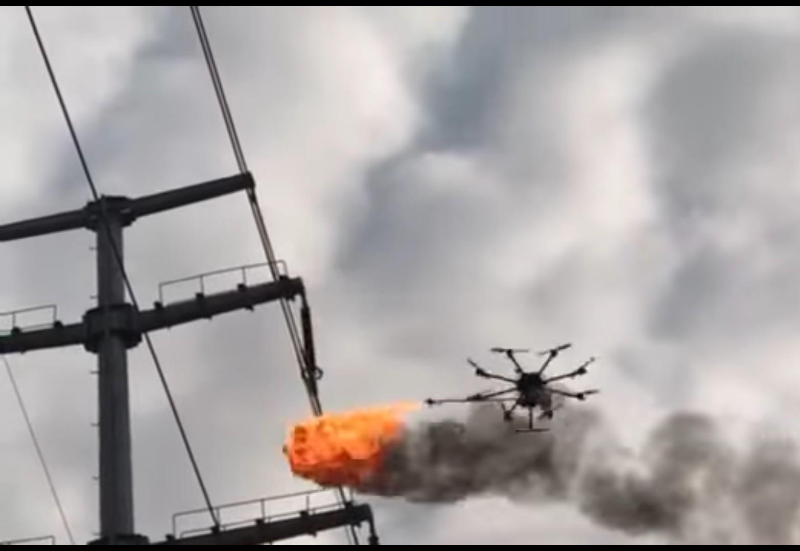 ВКитайской республике создали огнедышащего дрона для борьбы смусором