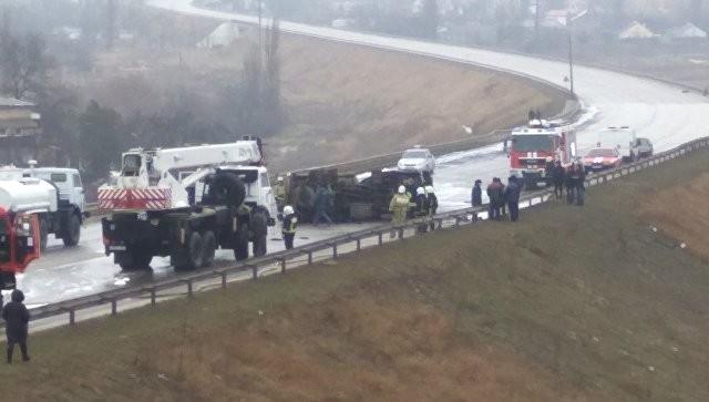 ВСимферополе сгорел шофёр перевернувшегося бензовоза