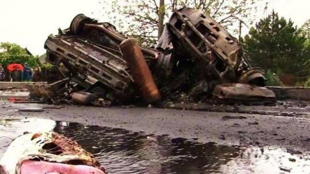 Автомобиль ОБСЕ на100% сгорел после взрыва под Луганском