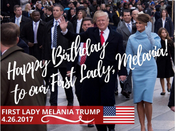 Трамп поздравил первую леди США с днем рождения