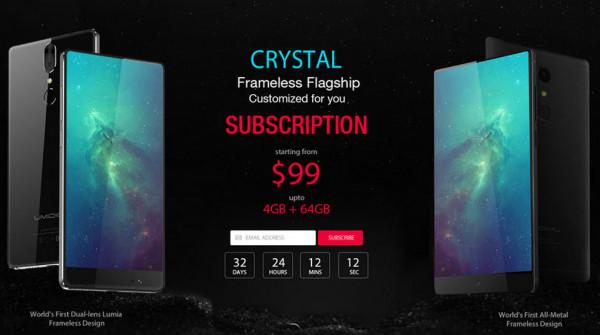 Компания Umidigi разработала новый безрамочный смартфон Crystal