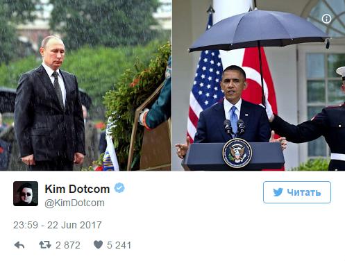 Основатель Megaupload сравнил фото Владимира Путина иОбамы под дождем