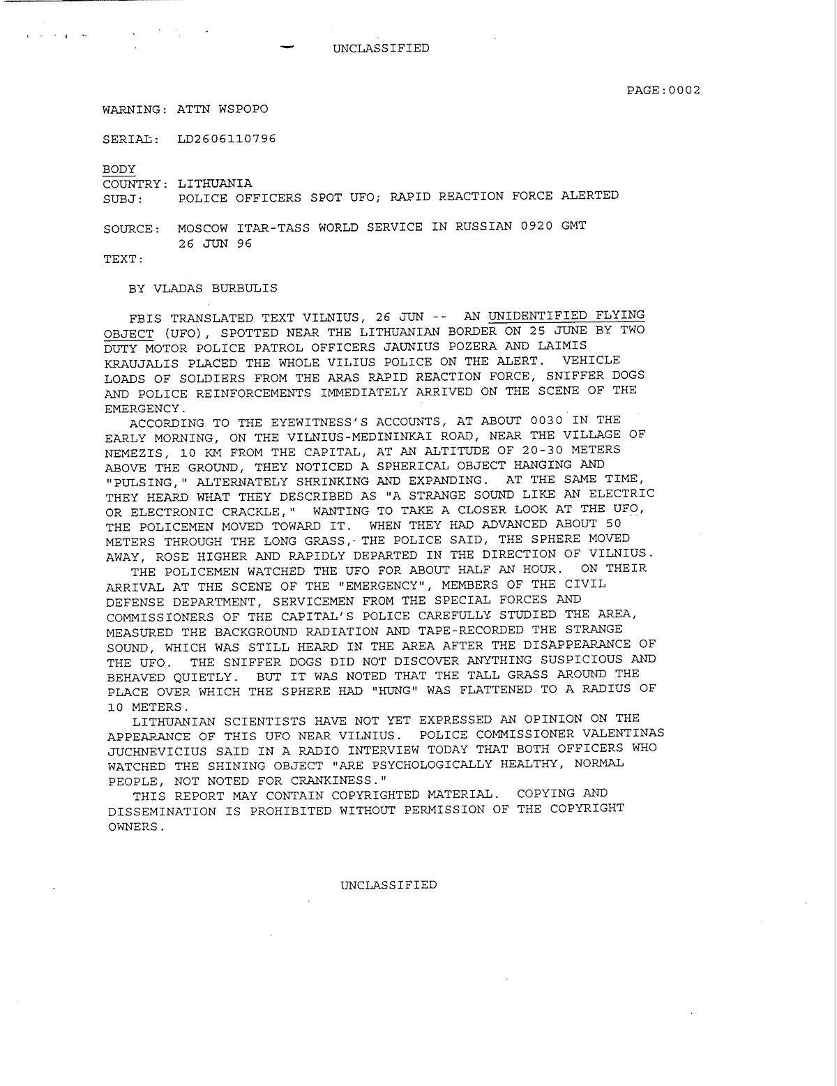 В 1996  милиция  Литвы отыскала  инопланетный НЛО