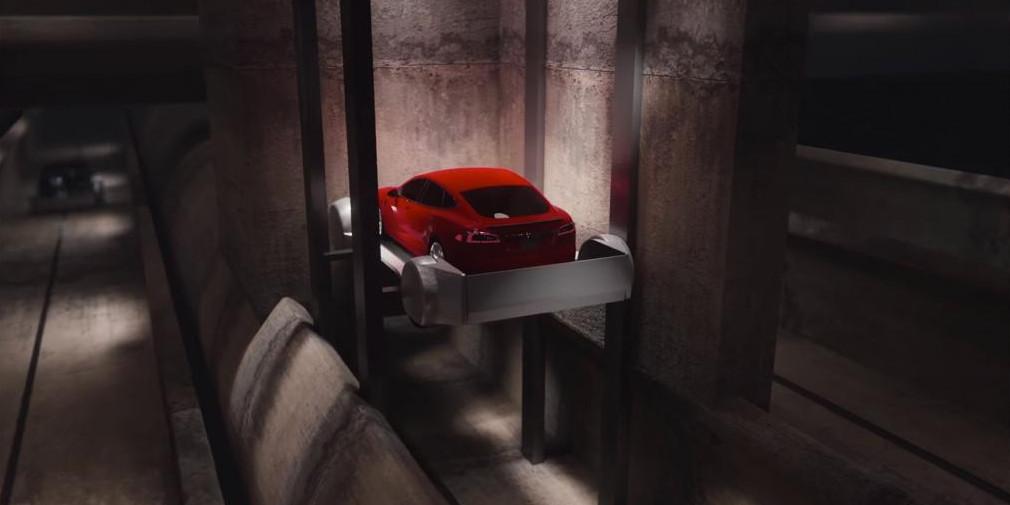 Илон Маск продемонстрировал работу лифта, который будет доставлять под землю машины