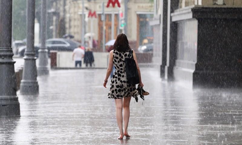 На российскую столицу  надвигается стена дождя