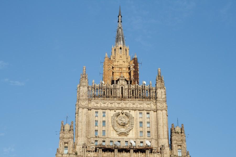 В российской столице завершена реконструкция шпиля здания МИДРФ