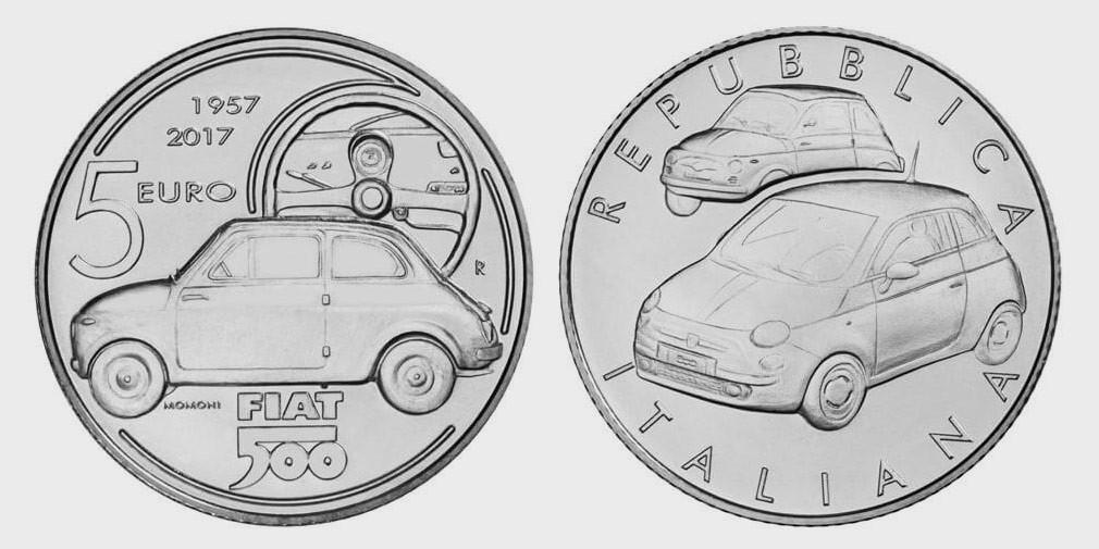 ВИталии выпустили монету вчесть Фиат 500