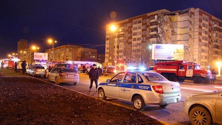Момент взрыва вжилом доме вИжевске попал навидео