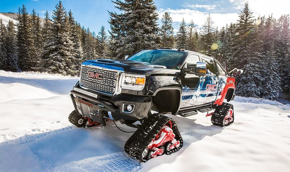 Новый гусеничный пикап-снегоход представила компания дженерал моторс All Mountain