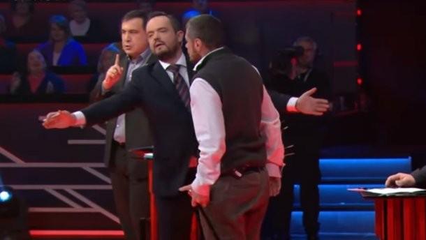 Мосийчук попытался избить Саакашвили тростью втелеэфире