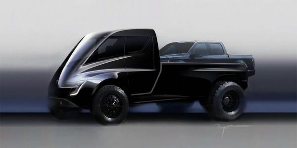 Tesla представила набросок электрического пикапа