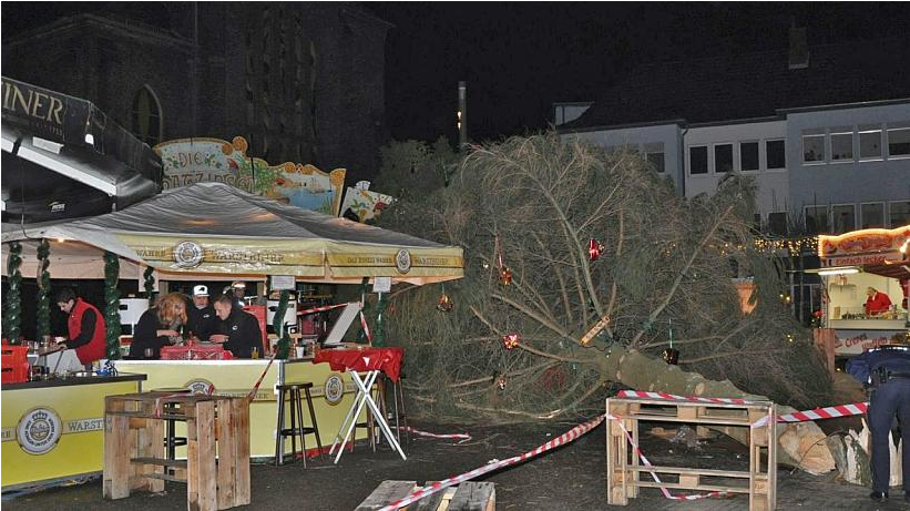 ВГермании на гостей ярмарки упала рождественская ель