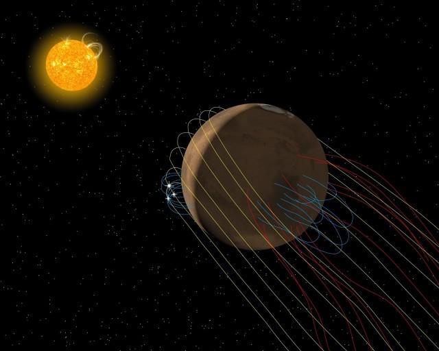 Атмосфера Марса имеет защиту отсолнечного ветра