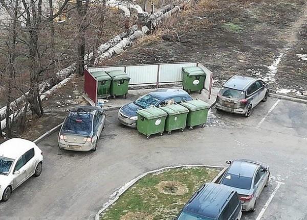 В Волгограде по-хамски припаркованную иномарку превратили в мусорку