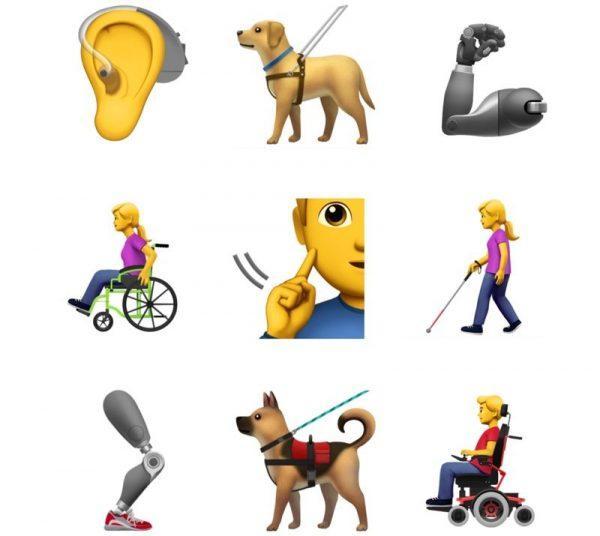 Apple представила новые эмодзи для людей сограниченными возможностями