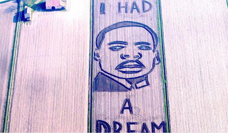 Итальянский художник при помощи трактора наполе нарисовал портрет Мартина Лютера Кинга