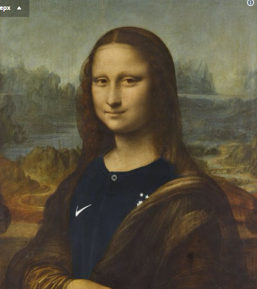 После победы французов наЧМ Лувр облачил Мону Лизу в новейшую одежду