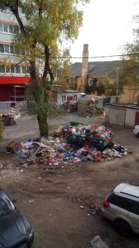 Жители Воронежа превратили двор аварийного дома в помойку