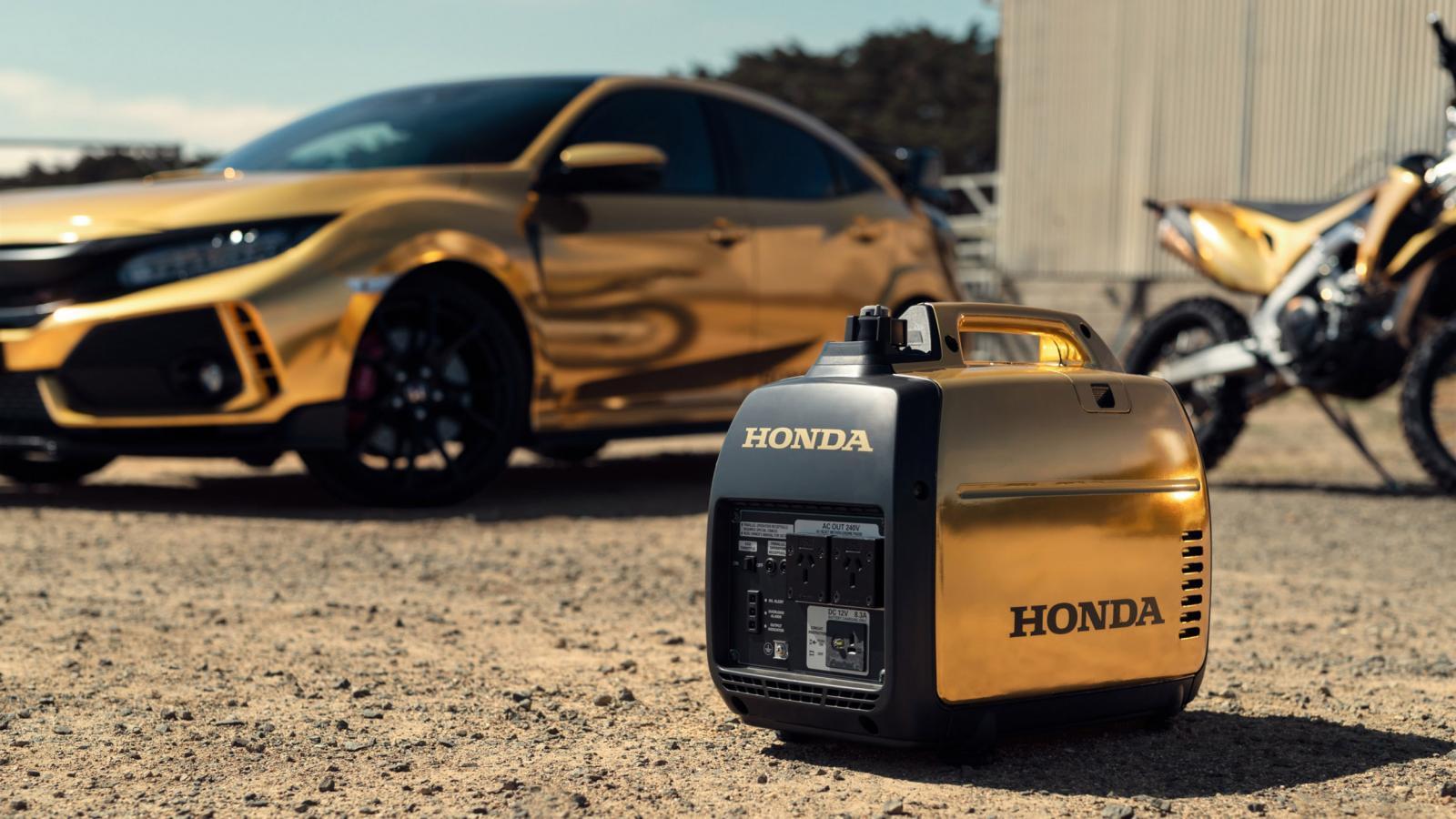 Honda представила в Австралии золотые мотоциклы, газонокосилку и автомобили
