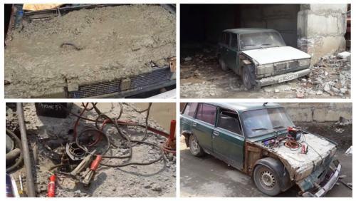 Двигатель ВАЗ-2104 против бетона: В сети провели смелый эксперимент